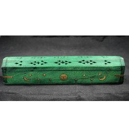 Celestial Wood Coffin Incense Burner Green
