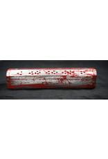 "Coffin Box Incense Burner - Red Silver 12"""