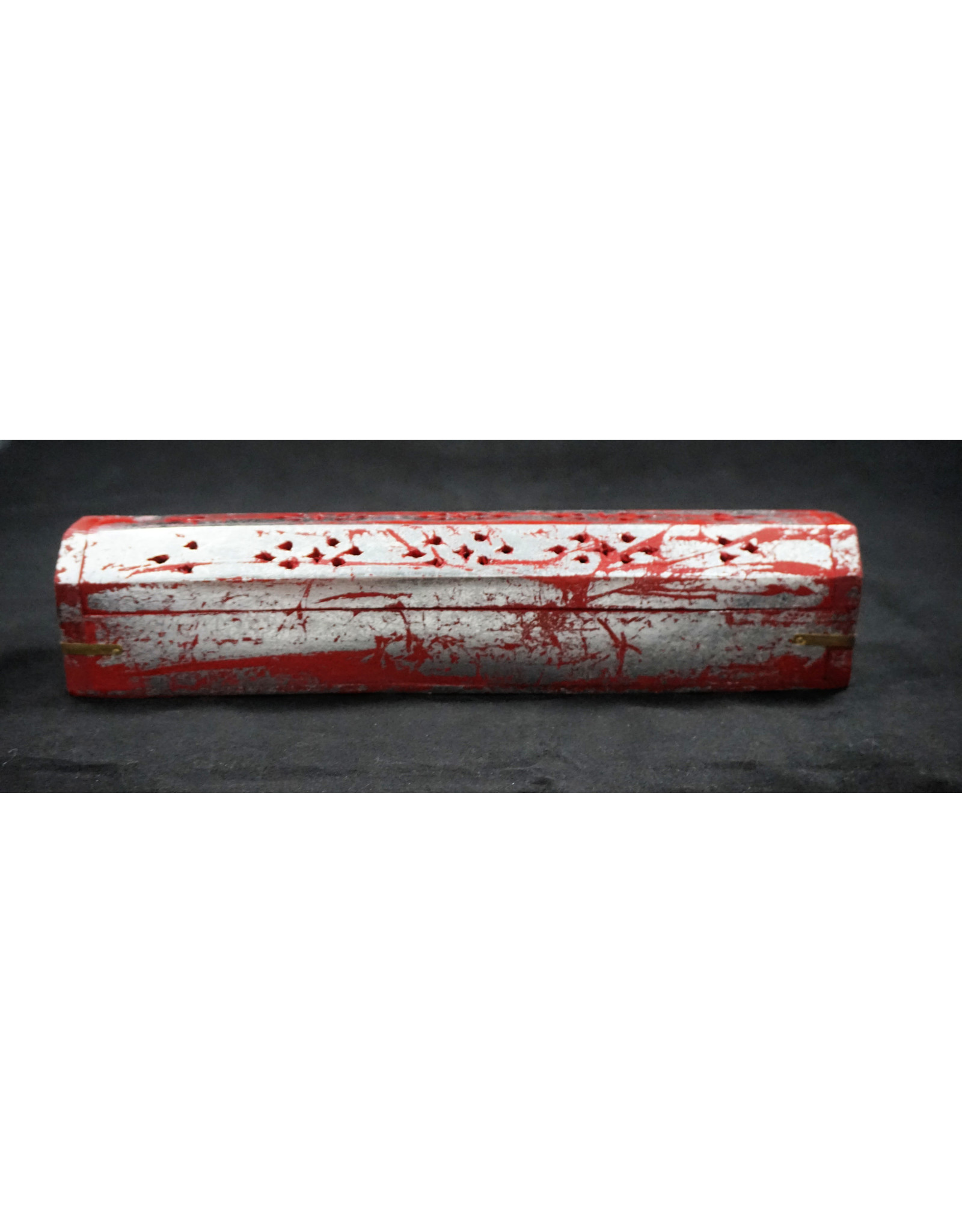 Coffin Box Incense Burner - Red Silver 12""