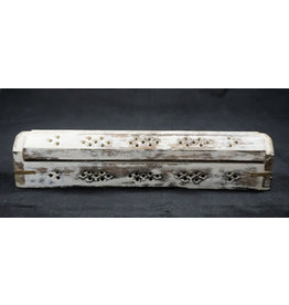 Coffin Box Incense Burner - White Wash 12""