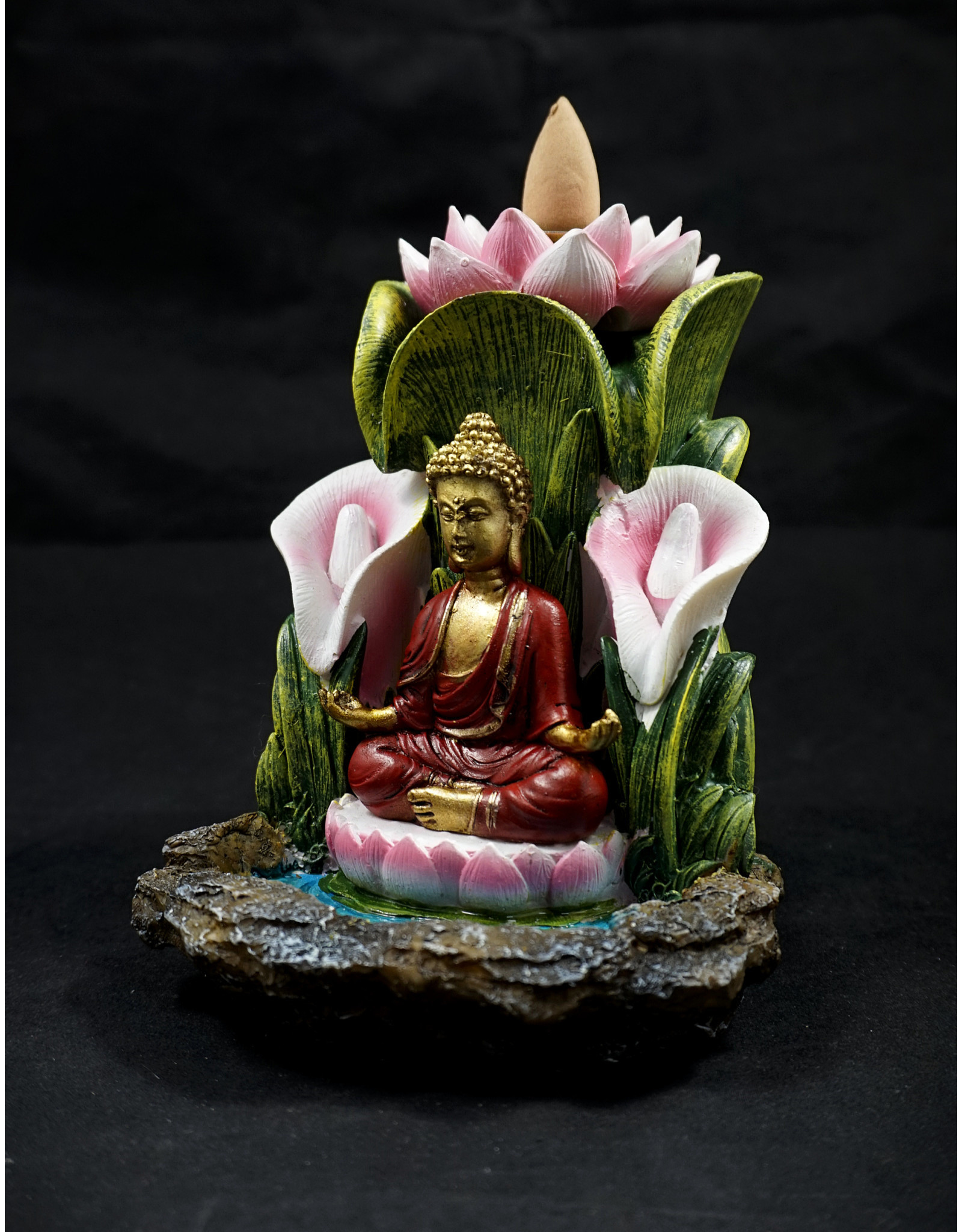"Buddha Lotus Backflow Incense Burner 5.5"""
