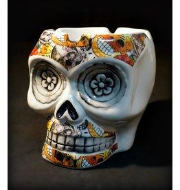 "Floral Collage Life-Size Ceramic Skull Ashtray - 4"""
