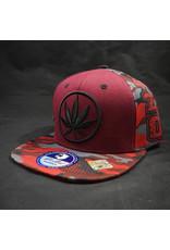 Circle Leaf Burgundy Hat