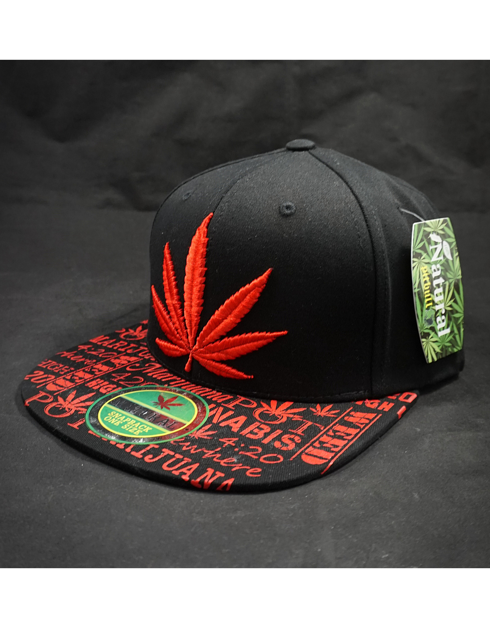 Black Cap Red Leaf Hat