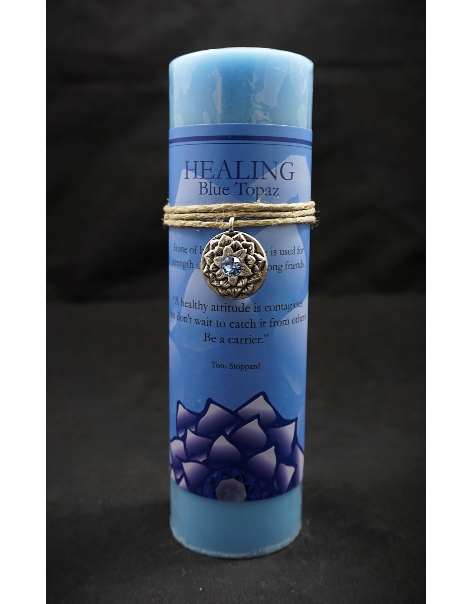 Inspir Lotus Candle Pewter Pendant - Blue Topaz Healing