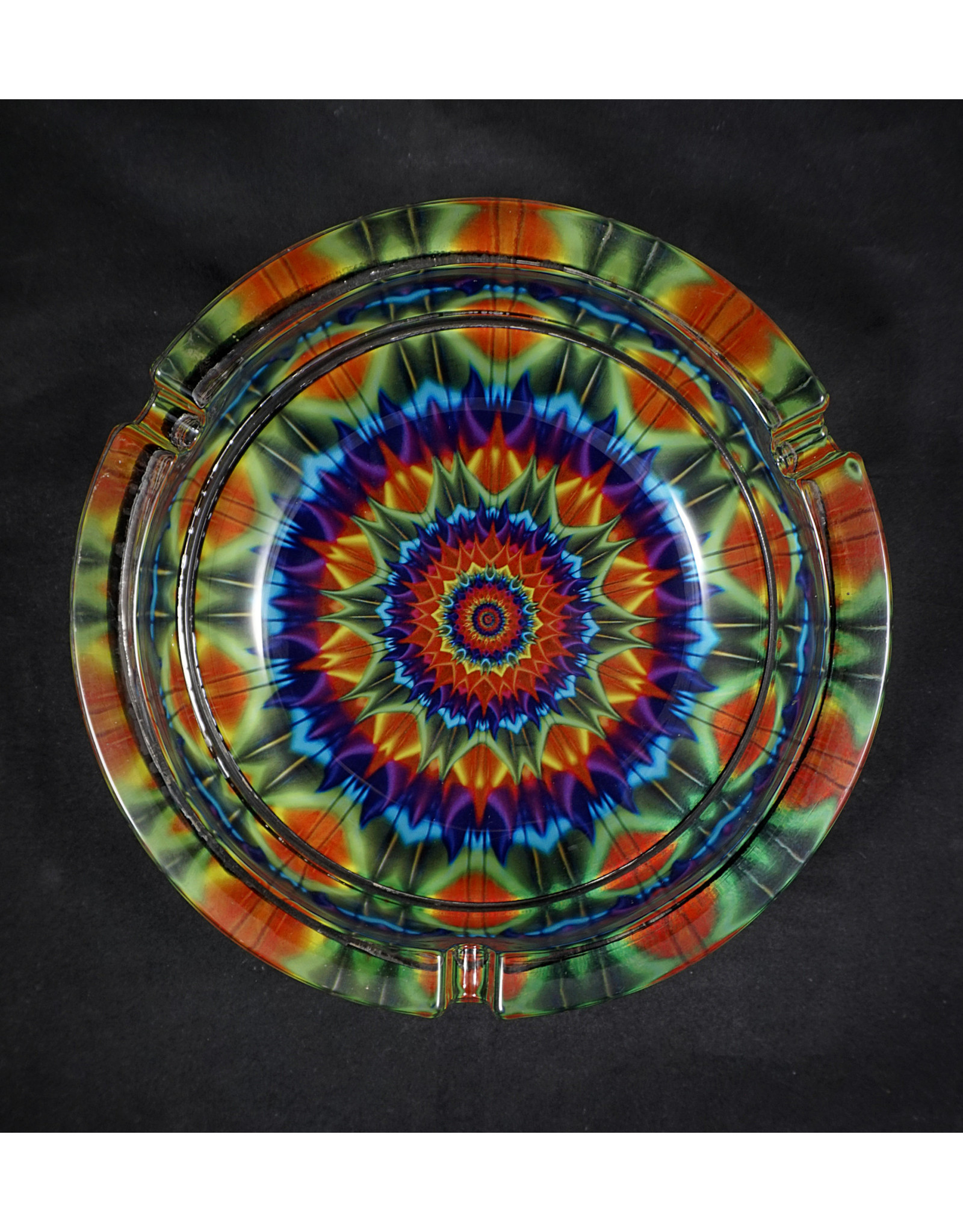 "Glass Kaleidoscope Ashtray 6.25"""