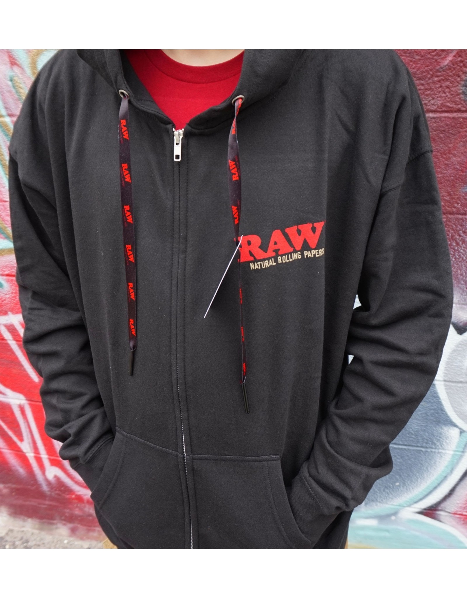 Raw Raw Zip Up Hoodie with Poker Strings