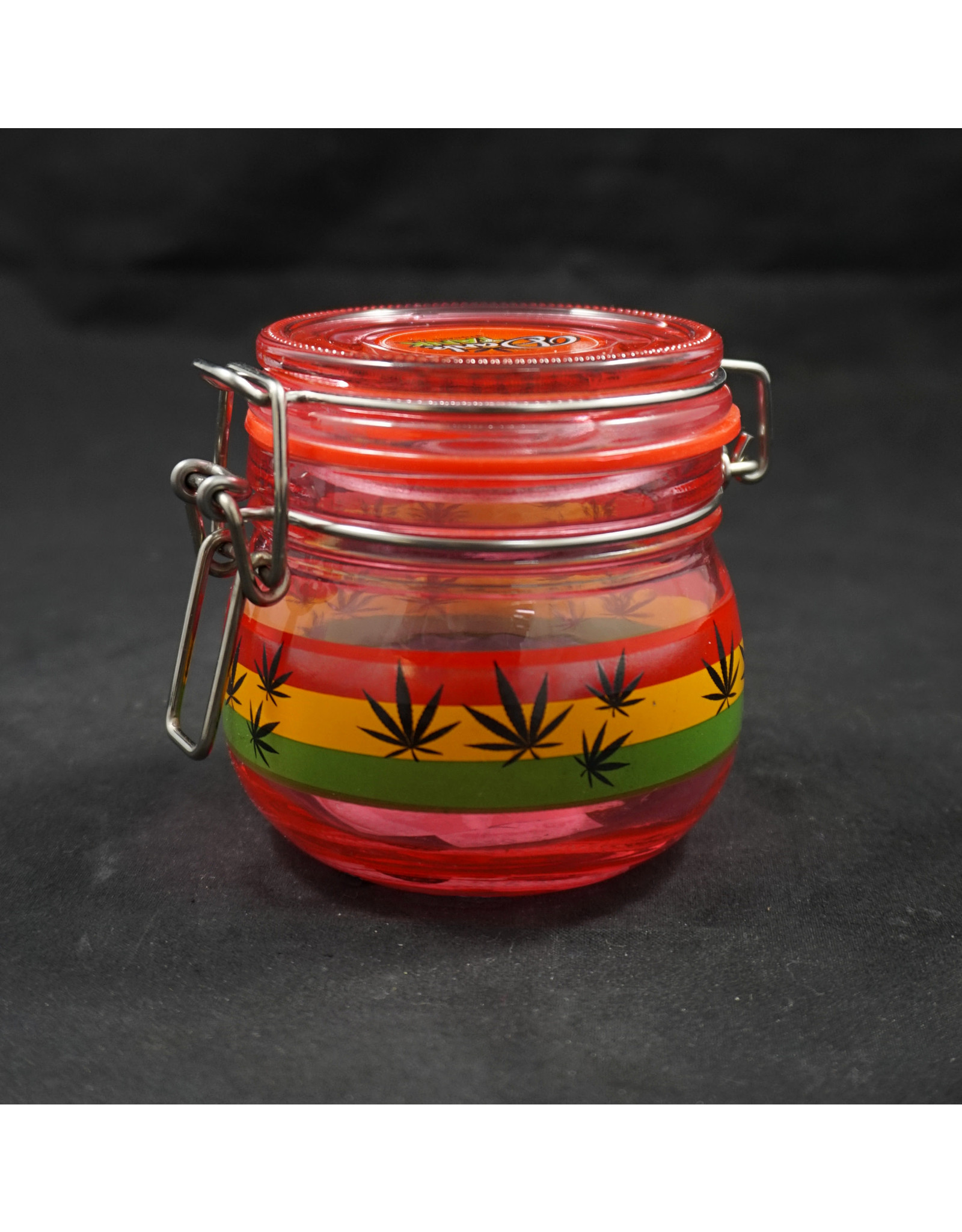Rasta Leaf Red Glass Jar - Small