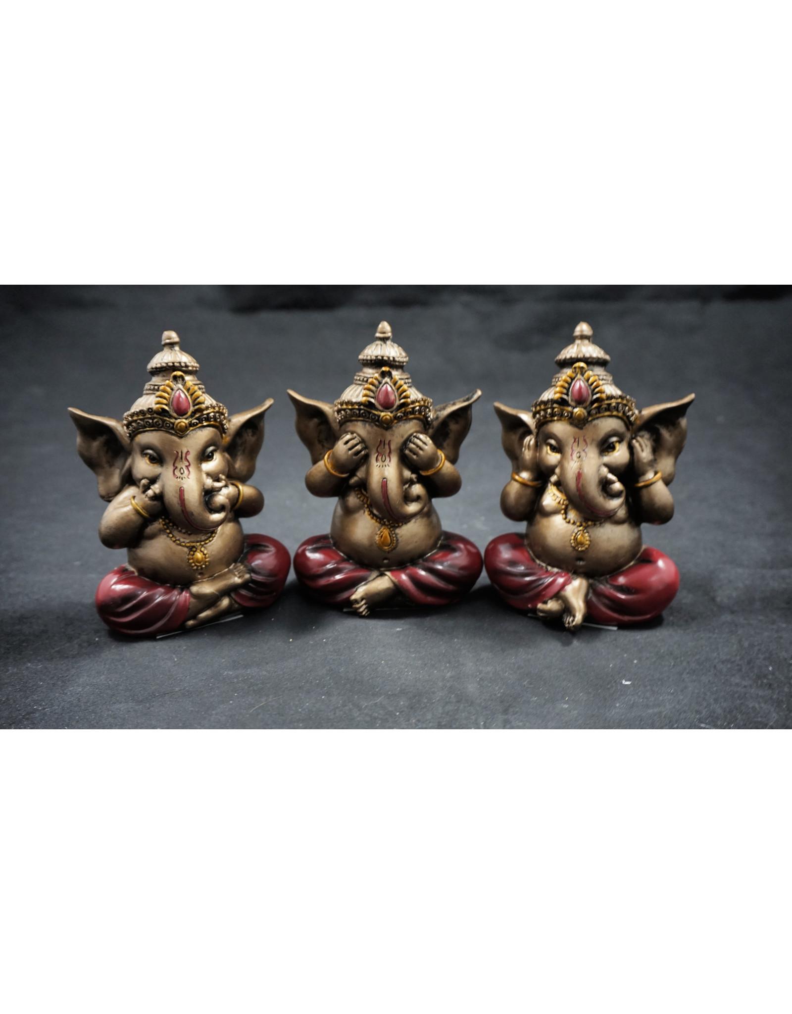 Ganesha Statues - See, Hear, Speak No Evil Set of 3