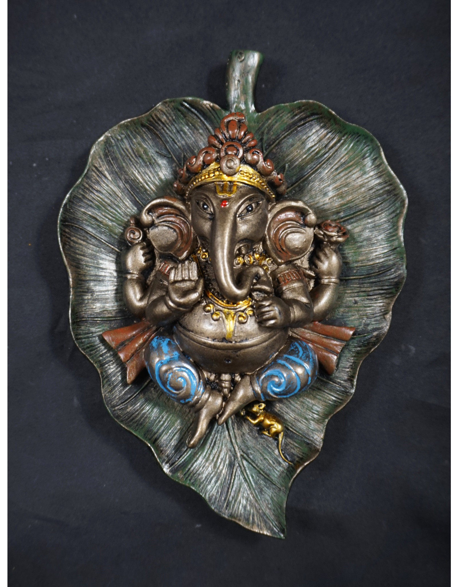 Ganesha On Peepal Leaf Statue