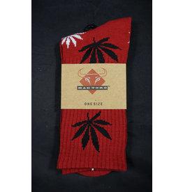 Mad Toro Mad Toro Socks Red w/ Black/White Leaves