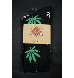Mad Toro Mad Toro Socks Black w/ Green/White Leaves