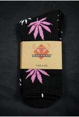Mad Toro Mad Toro Socks Black w/ Pink/White Leaves