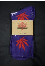 Mad Toro Mad Toro Socks - Purple w/ Red/White Leaves