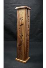 Moon and Star Wood Tower Incense Burner