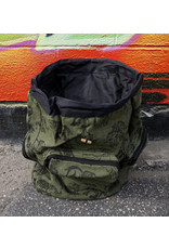 Green Backpack with Black Elephants