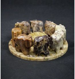 Round Elephant Soapstone Incense Burner