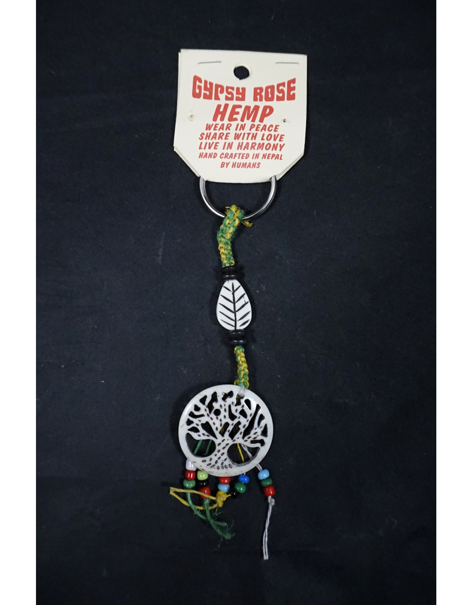 Lifes Force Tree Hemp and Bone Keychain                                                                                                                                                                                                      Keychain