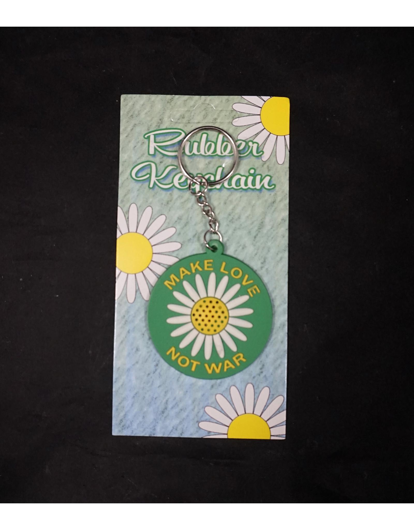 Make Love Not War Rubber Keychain