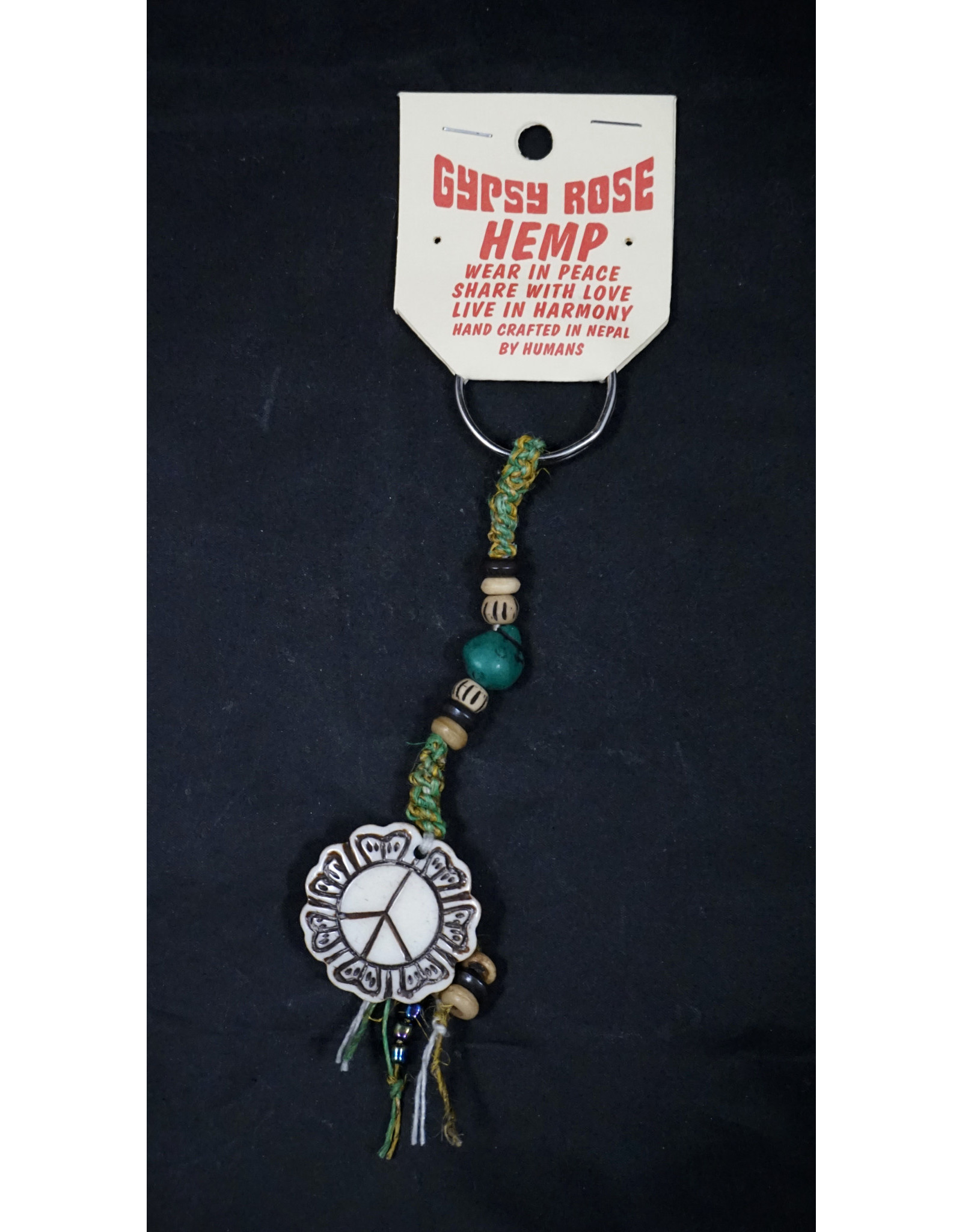 Bone Peace Flower Pendant Keychain