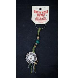Bone Peace Flower Pendant Keychain