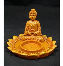 Meditating Buddha with Lotus Flower Incense Burner