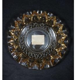 """Round Cut Glass Ashtray 7"""" - Amber"""