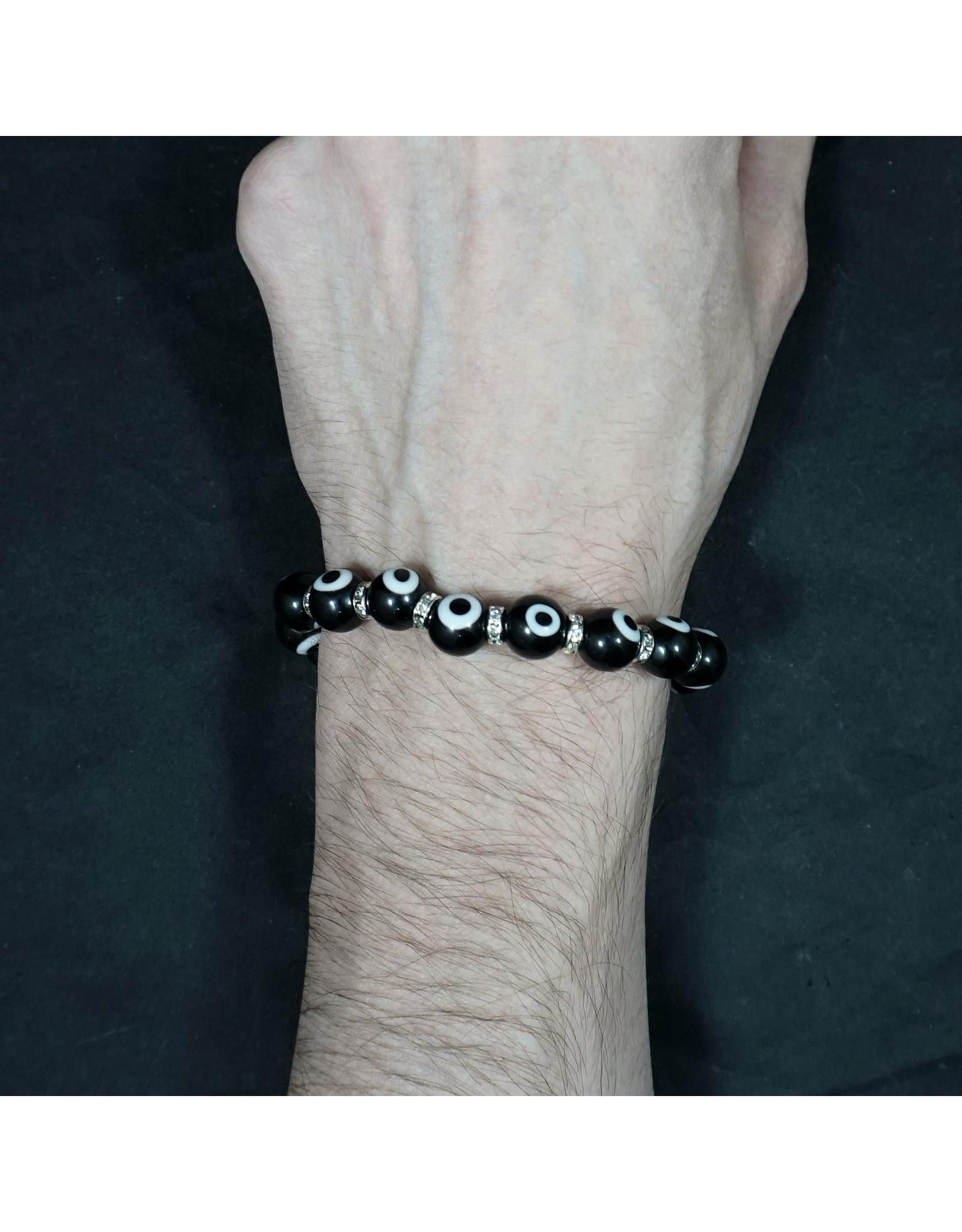 Glass Beads Elastic Bracelet Evil Eye Protection - Black