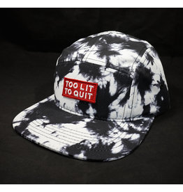 Be Lit Be Lit 5 Panel Hat - Too Lit To Quit Acid Wash