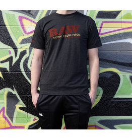 Raw Raw Unisex Black Tri-BlendDistressed Logo Shirt - Medium