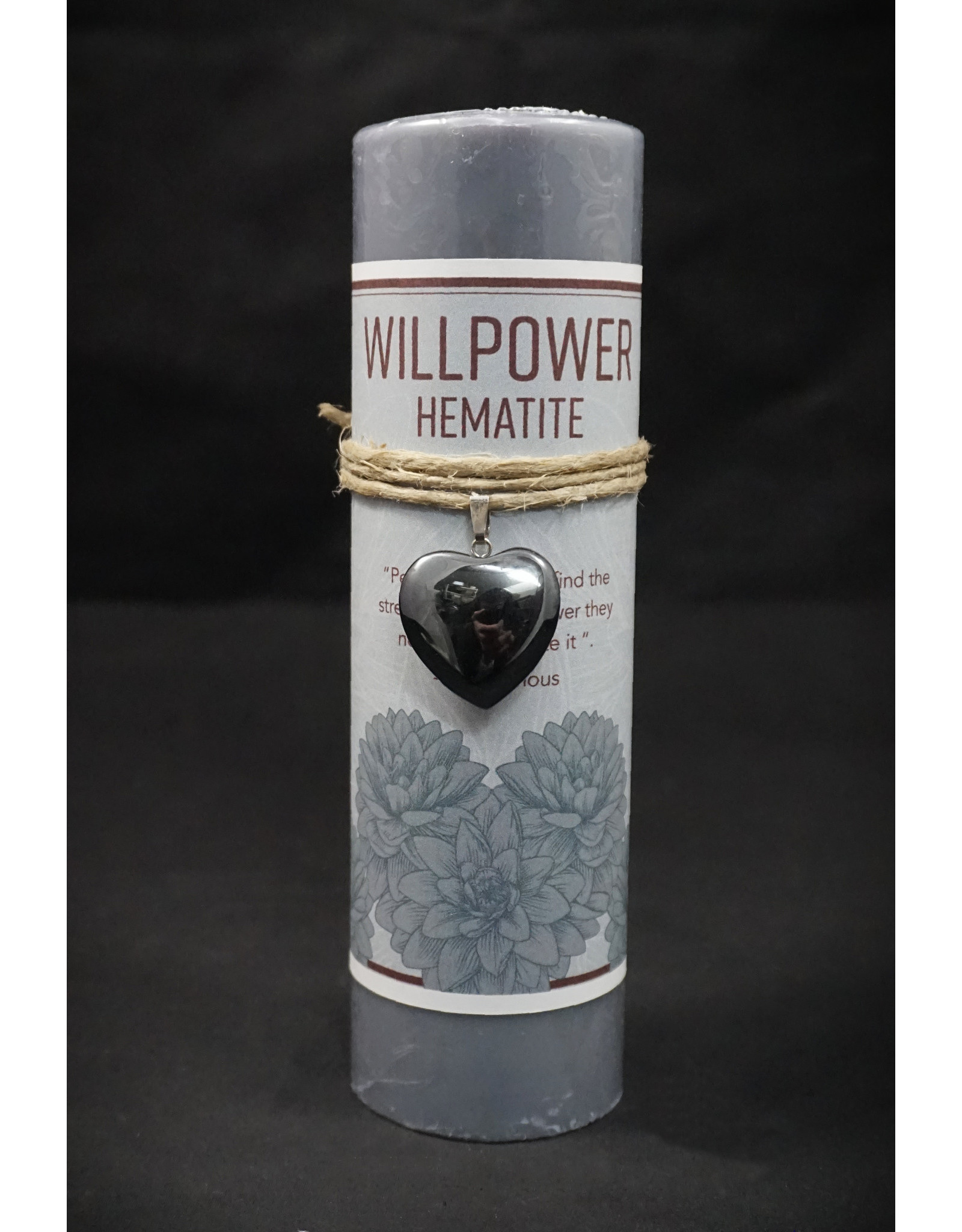 Heart Pendant Candle - Hematite Willpower
