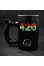 Ceramic Pipe Mug – Roast and Toast 10oz Black w/ Rasta 420