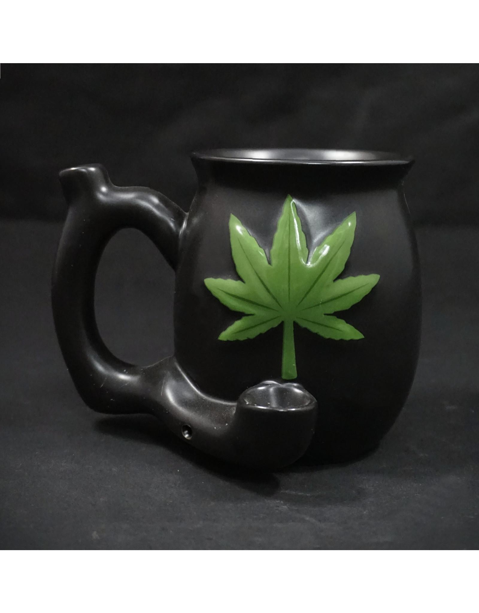 Ceramic Pipe Mug – Roast and Toast Embossed Leaf Green