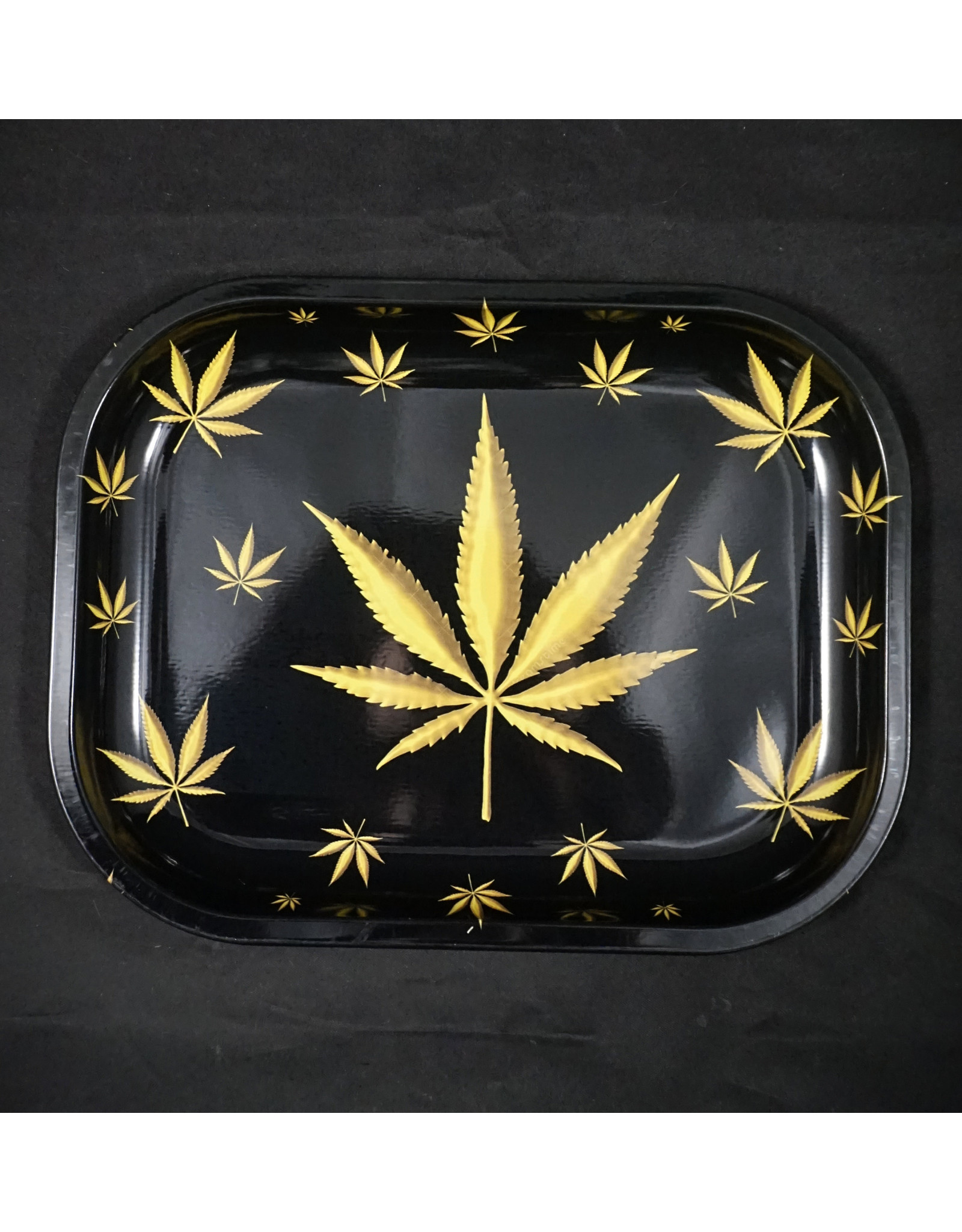 Black And Gold Leaf Small Rolling Tray