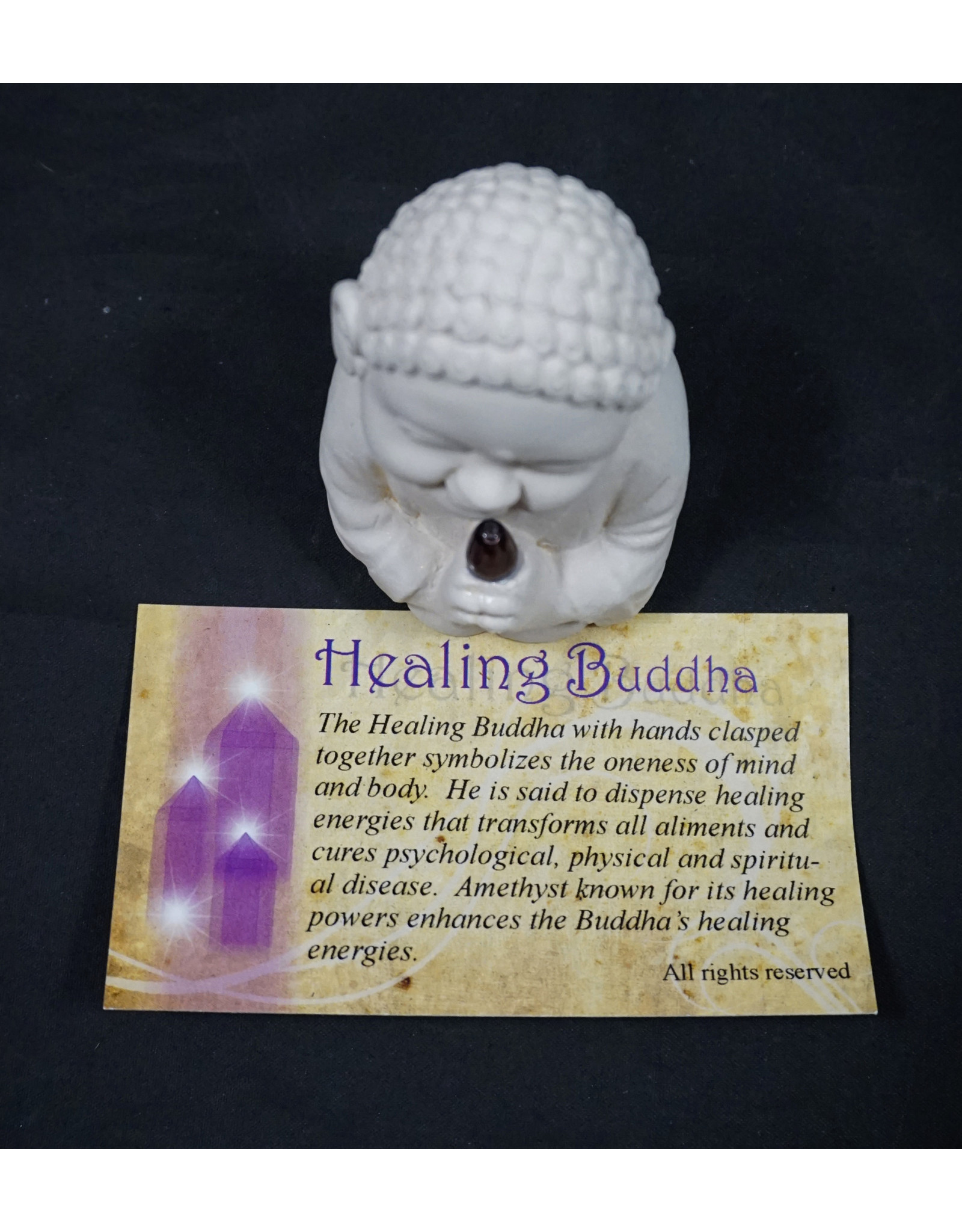 Gypsum Cement Buddha Figurine - Healing with Amethyst