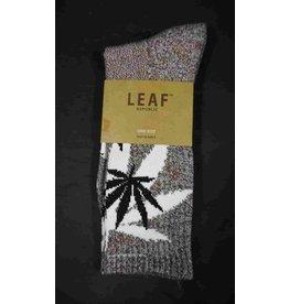Leaf Socks - Brown Speckle with White Black Leaves