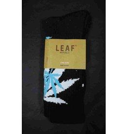 Leaf Socks - Black with White Aqua Leaves