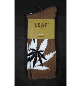 Leaf Socks - Brown with White Black Leaves
