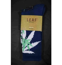 Leaf Socks - Navy Blue with Green White Leaves