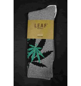 Leaf Socks - Gray with Black Green Leaves