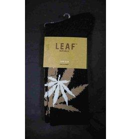 Leaf Socks - Black with Olive White Leaves