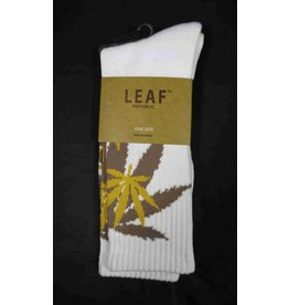 Leaf Socks - White with Tan Gold Leaves