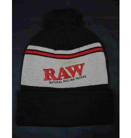 Raw Raw Beanie (Black and Brown w/ Logo)