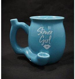 Ceramic Mug Pipe - Blue Stoner Girl