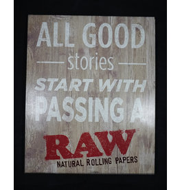 Raw Raw Rustic Wood Sign - Good Stories
