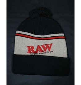 Raw Raw Knit Hat - Black and Brown
