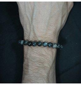 Elastic Bracelet 8mm Round Beads – Black Labradorite