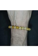 Elastic Bracelet 8mm Round Beads - Yellow Jade