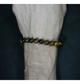 Elastic Bracelet 8mm Round Beads - Tiger's Eye