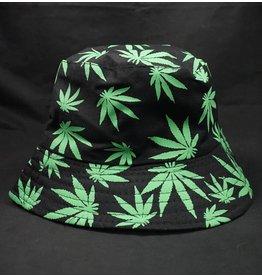 Bucket Hat - Green Hemp Leaf Print